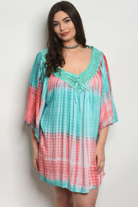 105-1-2-D496X MINT CORAL TIE DYE PLUS SIZE DRESS 2-3-3
