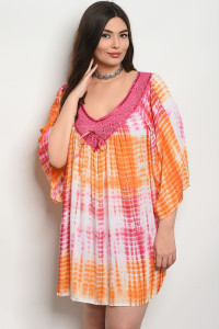 SA3-4-4-D496X CORAL ORANGE TIE DYE PLUS SIZE DRESS 2-2-2