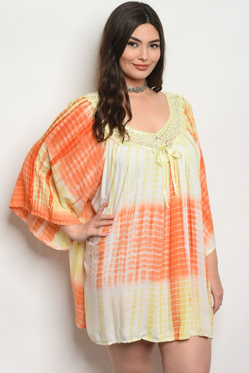 S16-1-3-D496X YELLOW ORANGE TIE DYE PLUS SIZE DRESS 2-3-1
