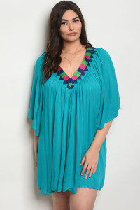 105-1-2-D111X TURQUOISE PLUS SIZE DRESS 1-1-4