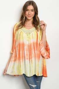 119-3-4-D496 YELLOW ORANGE TIE DYE DRESS 2-2-2