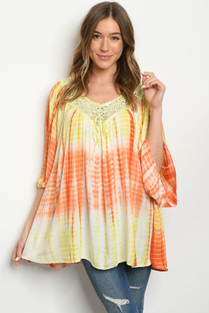 S18-9-2-D496 YELLOW ORANGE TIE DYE DRESS 2-2-2