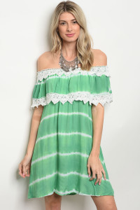 105-1-2D486 GREEN TIE DYE DRESS 1-2-3
