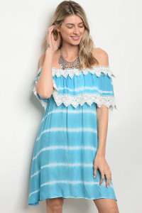 135-1-4-D486 BLUE TIE DYE DRESS 2-2-2