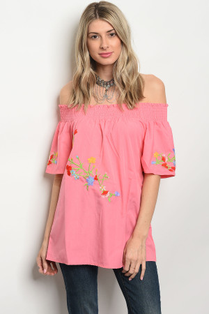 S2-4-4-T5081 PINK OFF SHOULDER TOP 2-2-2