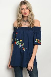 S2-4-5-T5081 NAVY OFF SHOULDER TOP 2-2-2