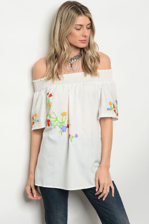 S2-5-1-T5081 WHITE OFF SHOULDER TOP 2-2-2
