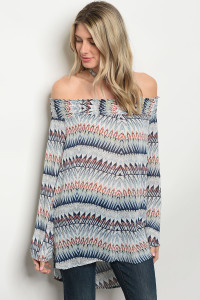 122-2-3-T9804 BLUE MULTI OFF SHOULDER TOP 2-2-2