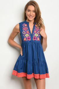 107-4-4-DIE111 NAVY CORAL DRESS 2-2-1-2