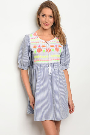 SA3-4-5-D117 BLUE STRIPES DRESS 2-2-2