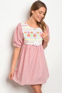 SA3-4-5-D117 RED STRIPES DRESS 2-2-2