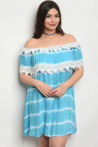 SA4-4-5-D486X BLUE TIE DYE PLUS SIZE DRESS 2-2-2