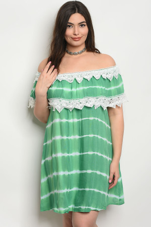 SA4-4-5-D486X GREEN TIE DYE PLUS SIZE DRESS 2-2-2