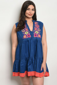 SA4-4-1-DIE111X NAVY CORAL PLUS SIZE DRESS 2-2-2