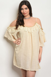 SA4-4-1-D574X BEIGE PLUS SIZE DRESS 2-2-2