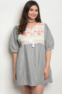 SA4-6-1-D117X BLACK STRIPES PLUS SIZE DRESS 2-2-2