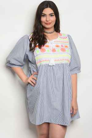 SA4-6-1-D117X BLUE STRIPES PLUS SIZE DRESS 2-2-2