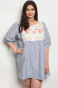 109-2-2-D117X BLUE STRIPES PLUS SIZE DRESS 1-2