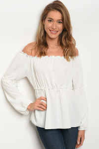 C13-B-2-T25715 IVORY OFF SHOULDER TOP 2-2-2