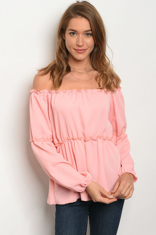 C11-B-4-T25715 BLUSH OFF SHOULDER TOP 2-2-2