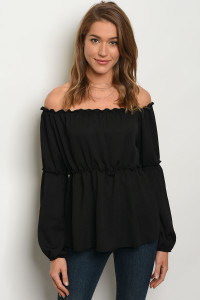 C11-B-3-T25715 BLACK OFF SHOULDER TOP 2-2-2
