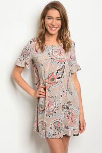 C79-A-3-D50050 TAUPE PAISLEY DRESS 2-2-2