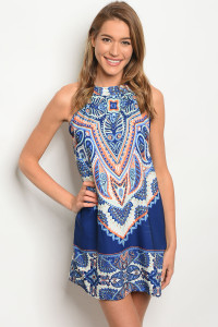 C87-A-3-D41820-4 NAVY MULTI DRESS 2-2-2