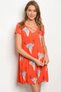 C87-A-3-D050100 ORANGE WITH BULL SKULL DRESS 2-2-2