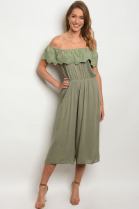 S13-11-4-J6090 GREEN OFF SHOULDER JUMPSUIT 2-2-2