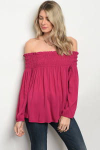 S10-16-3-T9484 CHERRY OFF SHOULDER TOP 2-2-2