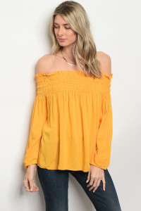 S10-16-3-T9484 MUSTARD OFF SHOULDER TOP 2-2-2
