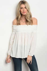 S15-2-3-T9484 IVORY OFF SHOULDER TOP 2-2-2