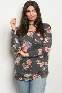 C102-A-2-T30182PX GREY WITH FLOWERS PLUS SIZE TOP 2-2-2