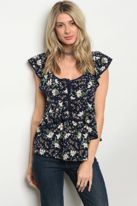 124-3-5-T9487 NAVY FLORAL TOP 4-2