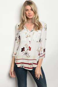 124-3-5-T9523 IVORY FLORAL TOP 1-1