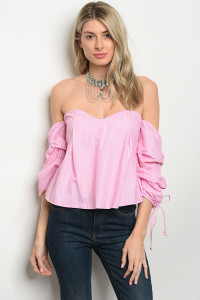 124-3-5-T8579 PINK STRIPES OFF SHOULDER TOP 2-1-1