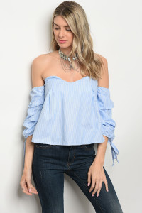 SA4-6-2-T8579 BLUE STRIPES OFF SHOULDER TOP 2-2-2