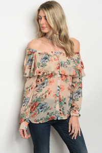 124-3-5-T9363 TAN FLORAL OFF SHOULDER TOP 3-2-2