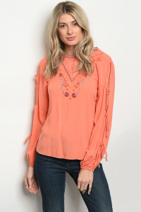 SA4-6-2-T9455 ORANGE WITH FLOWERS PRINT TOP 2-2-2