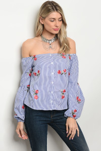 124-3-5-T9371 BLUE STRIPES WITH FLOWERS PRINT TOP 3-2-2