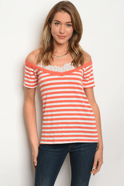 C21-B-3-T3193JS52 ORANGE WHITE STRIPES TOP 2-2-2