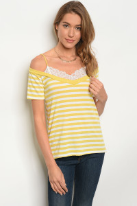 C21-B-6-T3193JS52 YELLOW WHITE STRIPES TOP 2-2-2