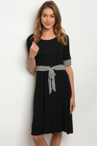 C37-A-2-D3484HRL BLACK WHITE DRESS 2-2-2