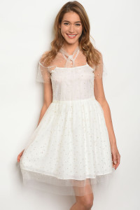 SA4-4-2-D2167 OFF WHITE WITH PEARLS DRESS 2-2-2