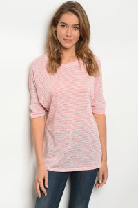 C48-B-7-T3042JH54 PINK WHITE STRIPES TOP 2-2-2