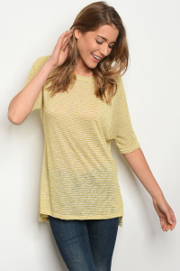 C48-B-7-T3042JH54 YELLOW WHITE STRIPES TOP 2-2-2