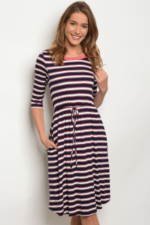 C51-A-7-D3390XL14 NAVY WHITE STRIPES DRESS 2-2-2