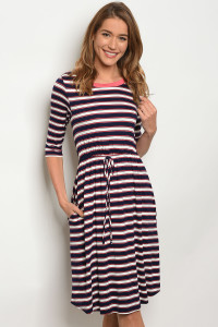 C56-A-1-D3390XL14 NAVY WHITE STRIPES DRESS 1-1-1