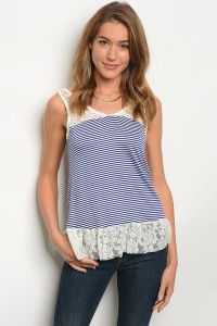 C57-B-3-T3050R990 IVORY NAVY STRIPES TOP 2-2-2
