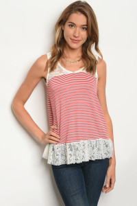 C50-B-1-T3050R990 IVORY RED STRIPES TOP 1-2-2